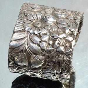 Floral Victorian Cuff Bracelet Sterling Silver 925